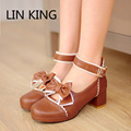 LIN KING  Women Pumps Spring and Autumn Princess Sweet Bowtie Lolita Shoes Thick Heel Pumps Round Toe Platform Sandals Plus Size