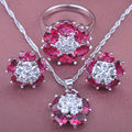 Charming Women's Red Cubic Zirconia 925 Silver Jewelry Sets Necklace Pendant Earrings Rings Free Shipping TS026