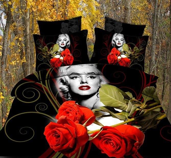 Achetez en gros noir rose housse de couette en ligne des grossistes noir rose housse de - Housse de couette marylin monroe ...