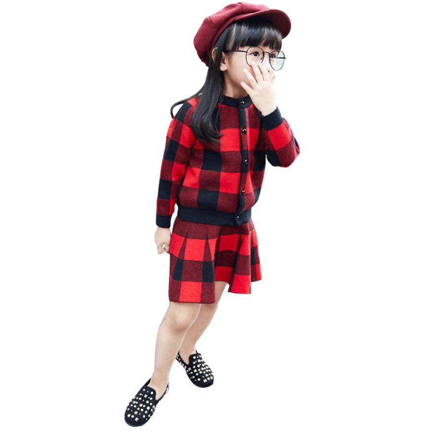 MUQGEW Teenage Girls Clothing Outfit Clothes Plaid Knitted Sweater Coat Tops+Skirt Set 2PC Girl Clothes Conjunto Menina Z06 stripes patterns teenage girls clothing