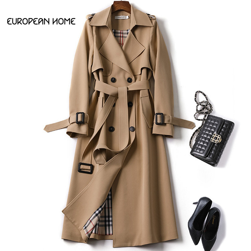 2019 New Spring Coat Women Trench coat Fashion Double Breasted High quality Long Coats Casual Autumn Windbreaker Outerwear(China)