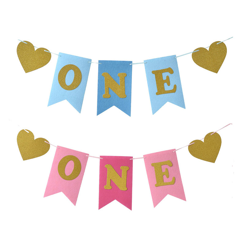 Pink Blue Glitter One Banner Pennant Hanging High Chair Baby Shower Flag Kids Boys Girls First Birthday Party Decoration