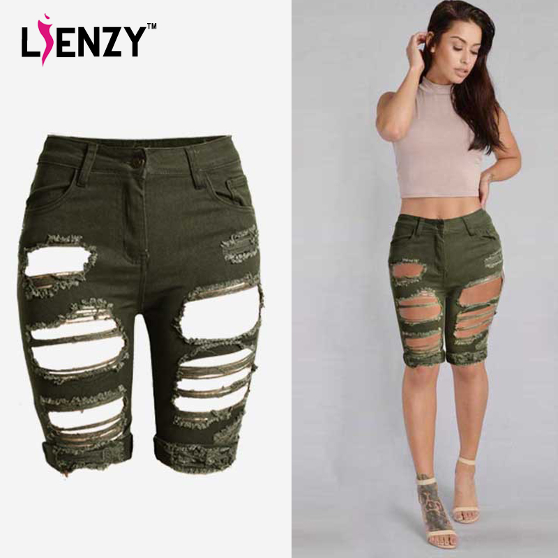 Aliexpress.com : Buy LIENZY 2016 Summer Army Half Ripped Knee ...