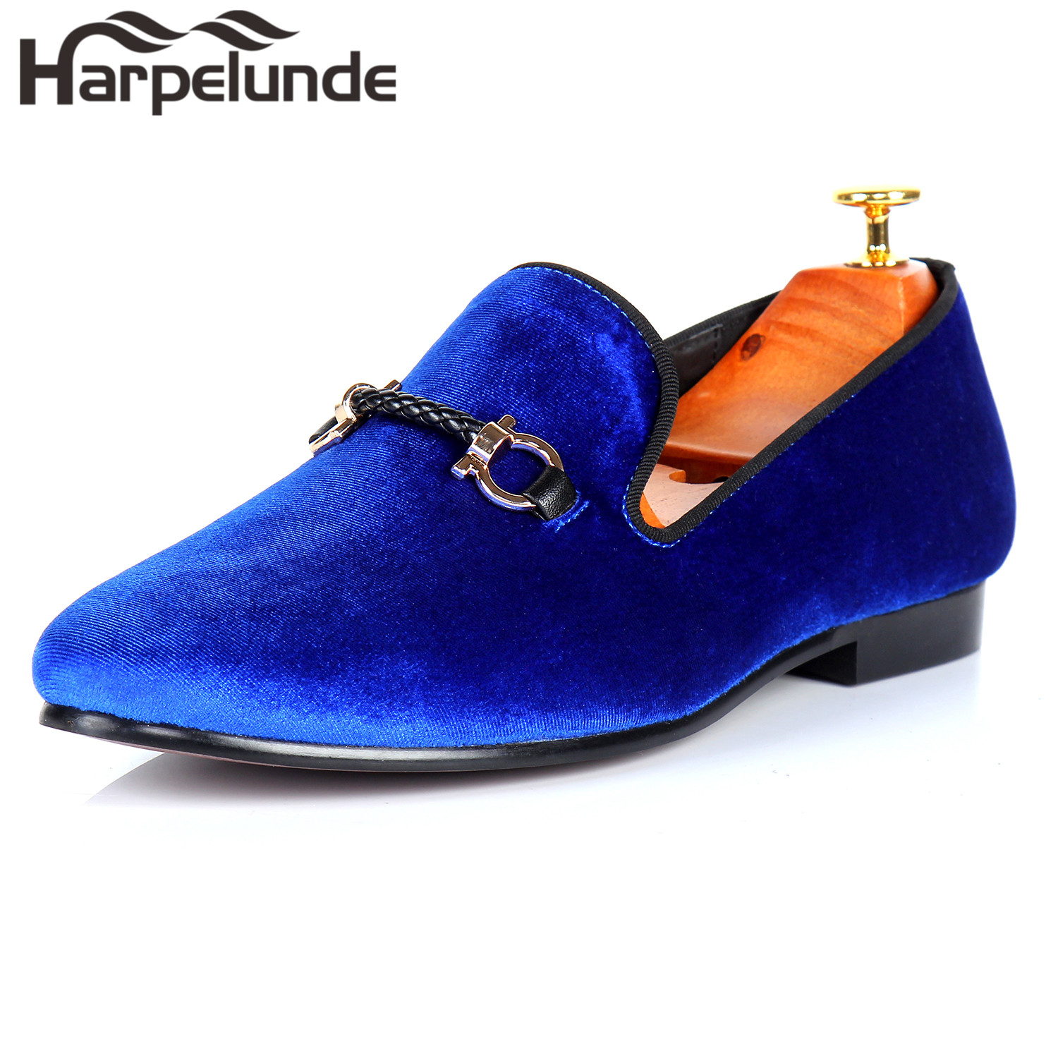 Harpelunde Men Buckle Strap Dress Shoes Blue Velvet Flat Loafers Size 6-14 harpelunde animal buckle men dress loafers printed velvet flat shoes with copper cap toe size 6 to 14