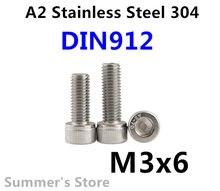 100 шт./лот DIN912 M3 винт из нержавеющей стали с шестигранной головкой винт M3 * 6 мм болт