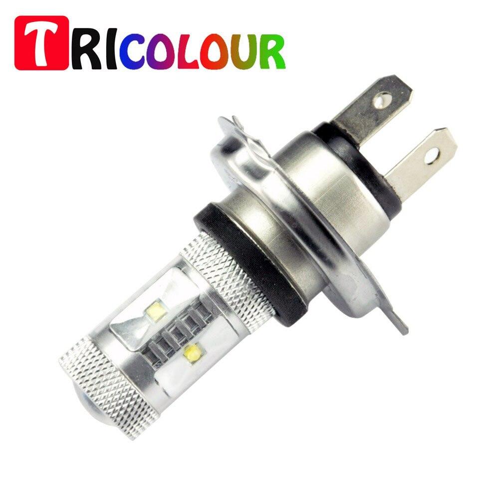 TRICOLOUR 2X H4 30W super bright White 30w H4 High Power Fog Light Driving Headlight DRL 6000K 12v free shipping #TJ24-1
