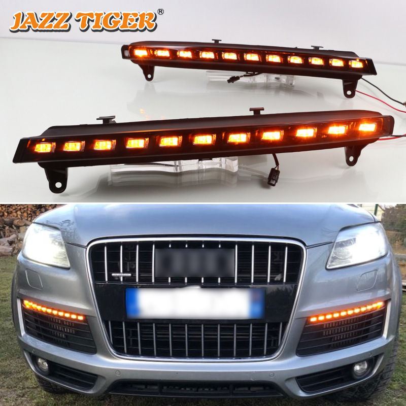 JAZZ TIGER Yellow Turning Function Matte Black ABS Cover 12V Car DRL LED Daytime Running Light For Audi Q7 2006 2007 2008 2009