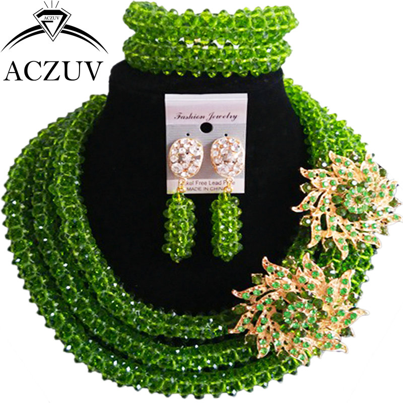 ACZUV Olive Green Crystal Beaded Bridal Wedding Jewelry Sets for Women African Beads Nigerian Necklace B3R010 purple clear ab crystal african wedding beads nigerian beaded necklace jewelry set bridal party jewelry sets for women 10c sz30