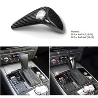 Carbon Fiber Interior Gear Shift Knob Cover Shifter Trim Sticker For Audi A6L A6 A7 16 18 Left Hand Drive LHD