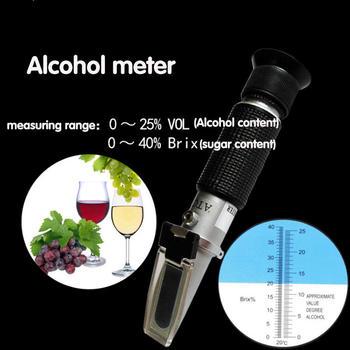 Ręczny refraktometr brix mierniki alkoholu przenośny Tester hydrometru 0-40 mierniki stężenia alkoholu dla czerwonego wina alkohol tanie i dobre opinie xinxiang Elektryczne TAY2097 Red Wine 0-25( ) 0-40( ) Alcohol Detection in Liquor Wine and Beer Refractometer