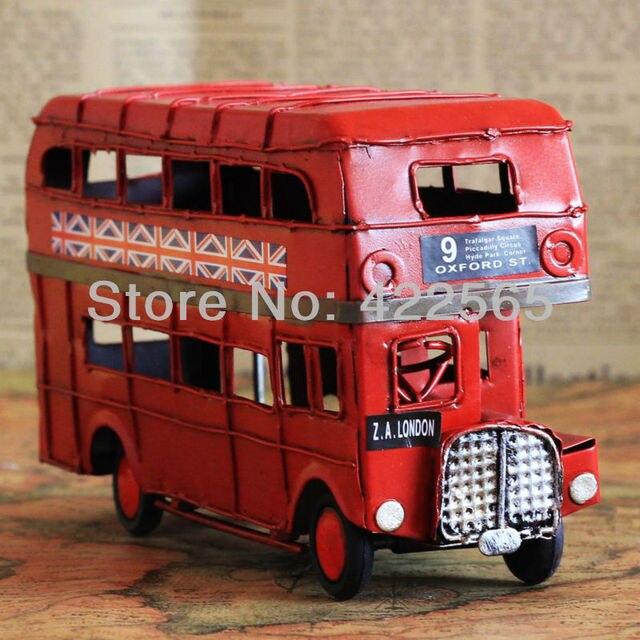 Saleing hot! London Street ferro Double decker Bus modelo Handmade Classic Car memória dos velhos tempos presente decoração # 51032