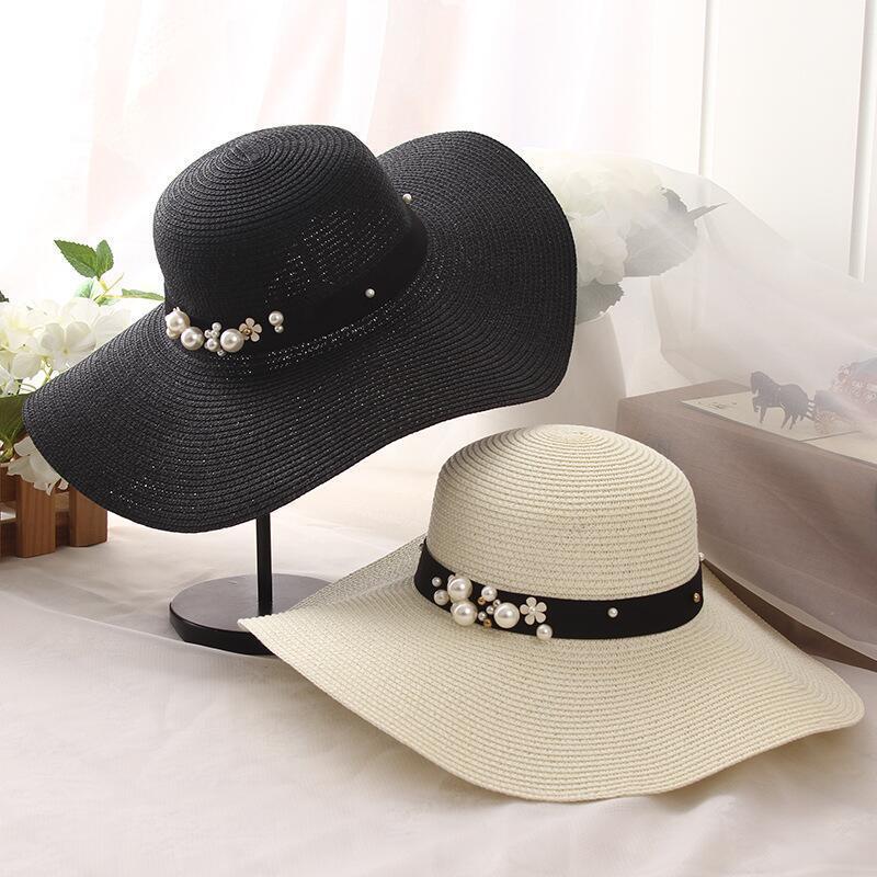 Summer Straw Hat Women Big Wide Brim Beach Hat Sun Hat Foldable Sun Block UV Protection Pearl Panama Hat Bone Chapeu Feminino