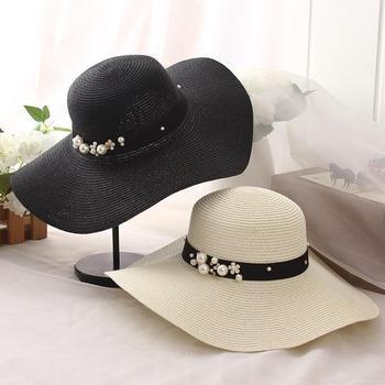 цена на summer straw hat women big wide brim beach hat sun hat foldable sun block UV protection pearl panama hat bone chapeu feminino