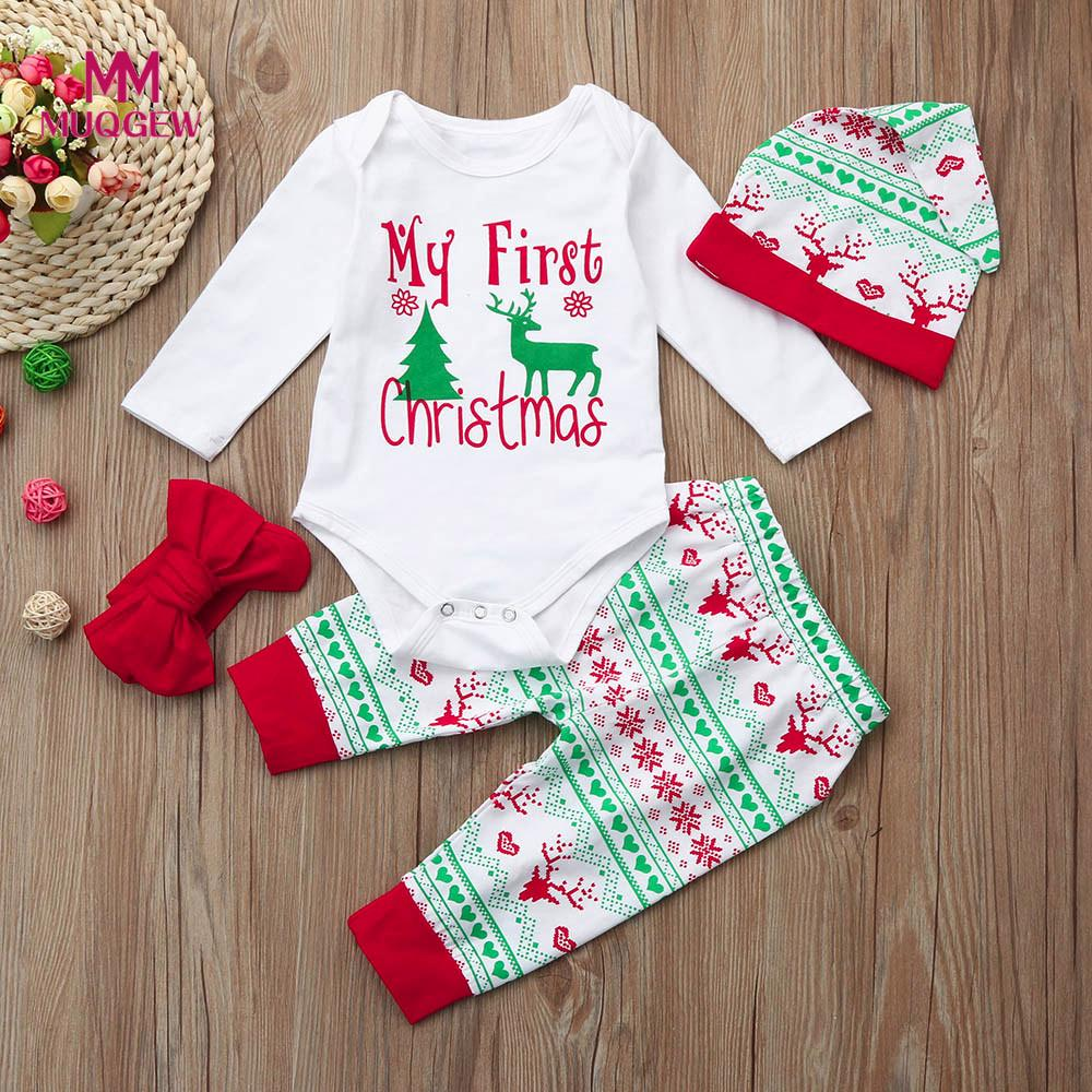 Newest 2017 Newborn jumpsuit Baby Boy Girl Christmas Letter Print Long Sleeve romper Tops+Pant+Santa Cap Outfits Clothes Set #5#