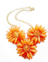 Orange Coral Wholesale Flower Necklace, Handmade Flower Necklace, valentine's Necklace