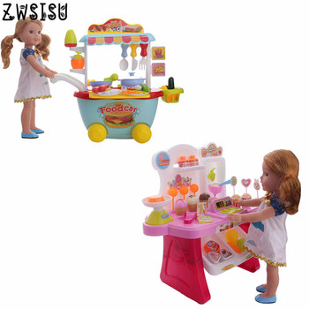 Luckdoll Christmas Doll Accessories Food Car Ice Cream Cart Fit 14.5incg American Girl Wellie Wishers Doll Accessories ice cream cart toy