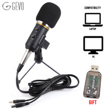 GEVO MK F200FL Condenser Microphone For Computer Studio Profesionales 3.5mm Wired Stand USB Mic For PC Karaoke Laptop Recording(China)