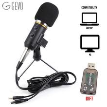 "GEVO ח""כ F200FL הקבל מיקרופון עבור מחשב סטודיו Profesionales 3.5mm Wired סטנד USB מיקרופון למחשב קריוקי הקלטה למחשב נייד"