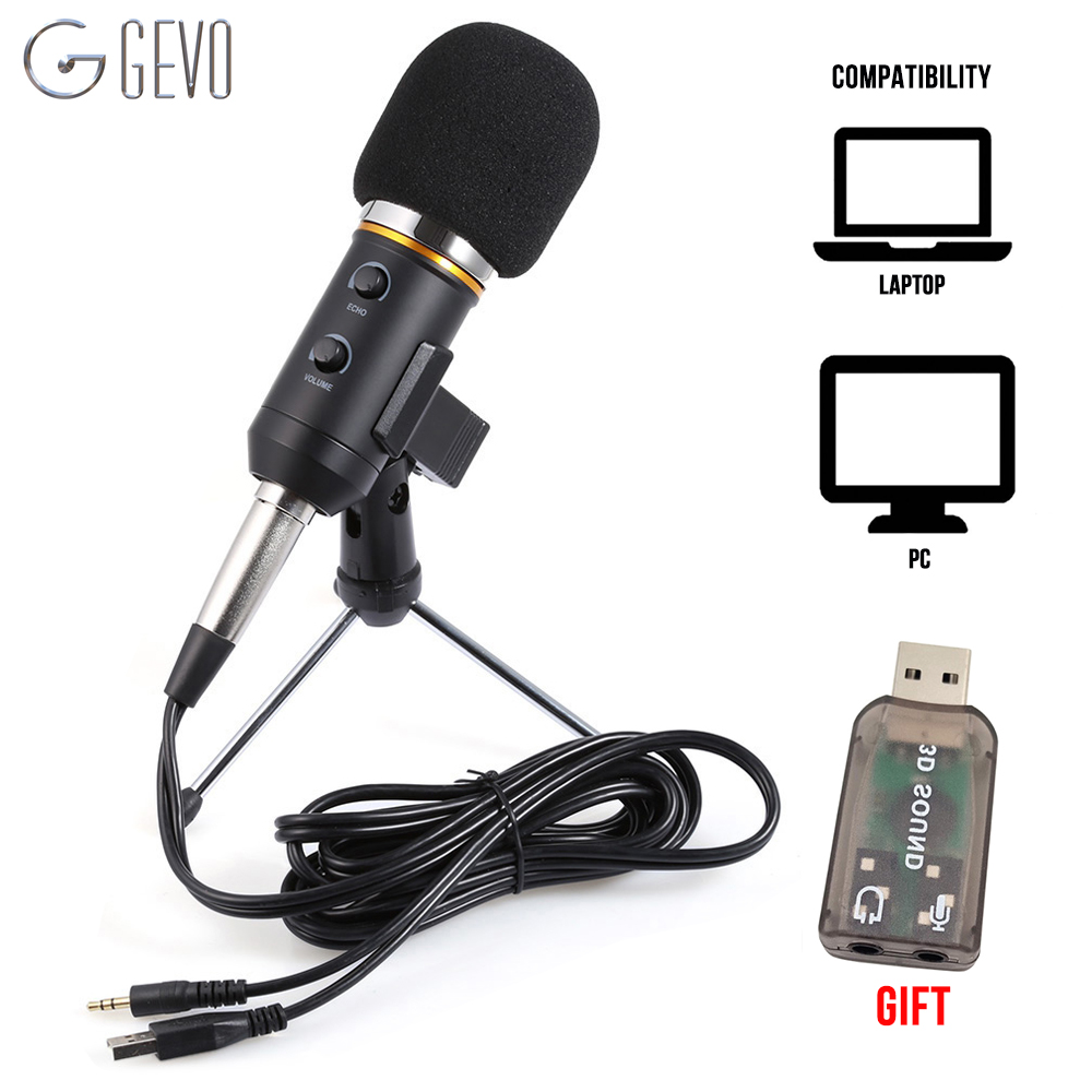 GEVO MK F200FL Condenser Microphone For Computer Studio Profesionales 3.5mm Wired Stand USB Mic For PC Karaoke Laptop RecordingGEVO MK F200FL Condenser Microphone For Computer Studio Profesionales 3.5mm Wired Stand USB Mic For PC Karaoke Laptop Recording