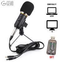 GEVO MK F200FL Microphone à condensateur pour Studio informatique Profesionales 3.5mm support filaire micro USB pour PC karaoké enregistrement d'ordinateur portable