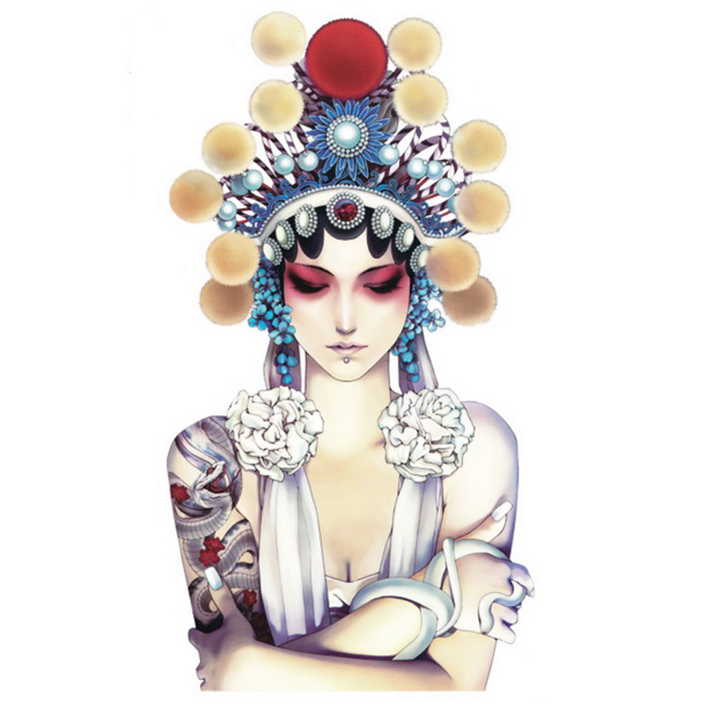 Yeeech Temporary Tattoos Sticker Large Chinese Peking Opera Facial Makeup Designs Fake Long Lasting Look Real Body Arm Leg Art