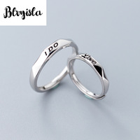 S925 Silver Ring Simple LOVE English Men and Women Ring Fashion Face Couple Rings Gifts