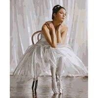Imagen sin marco en la pared acrílico pintura al óleo por números dibujo abstracto por números pintura de regalo único por números Ballet bailarín