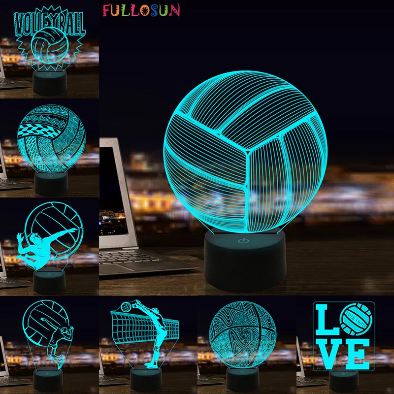 LED 3D Illusion Volleyball Night Lamp 7 Colors USB Light Kids Gift Bedrooms Sleeping Nightlight