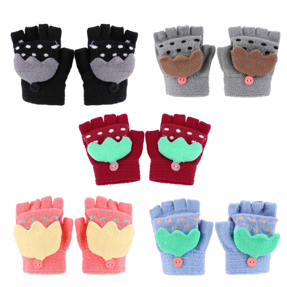 Winter Warm Baby Gloves Knitted Stretch Mittens Kids Solid Full Finger Gloves