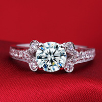 1 Carat SONA Synthetic Diamond Fashion Ring 925 Sterling Silver Geometric Ring Jewelry PT950 Stamp US
