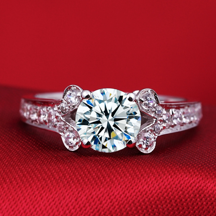 1 carat round SONA synthetic diamond 925 sterling silver wedding engagement ring for women (DFE)