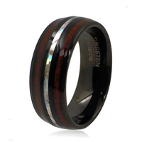 8mm Black Tungsten Rings with Hawaiian Koa Wood and Opal Inlay Men Women Engagement Forever Jewelry