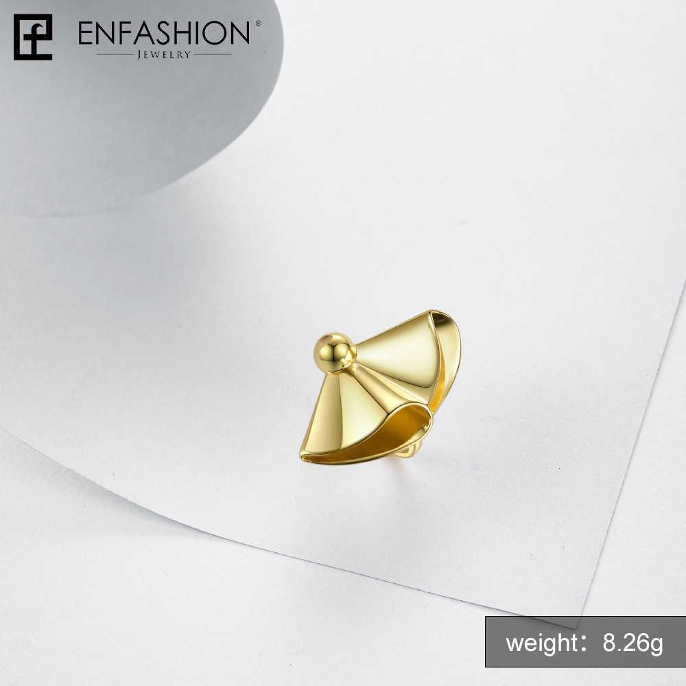 Enfashion ผ้าม่านแหวนทองสีทองเหลืองขนาดใหญ่แหวนหมั้นสุภาพสตรีแหวนสำหรับของขวัญ Party Party แฟชั่นเครื่องประดับ Ringen Anelli RF184004