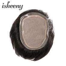 6 Inch MONO And PU Base Men toupee Durable Skin Natural looking Remy Hair Men wig Human Hair Full PU Replacements Toupee(China)