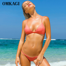 OMKAGI Brand Solid Bikinis Set Swimsuit Swimwear Women Sexy Push Up Swimming Bathing Suit Beachwear Brazilian Bikini 2018