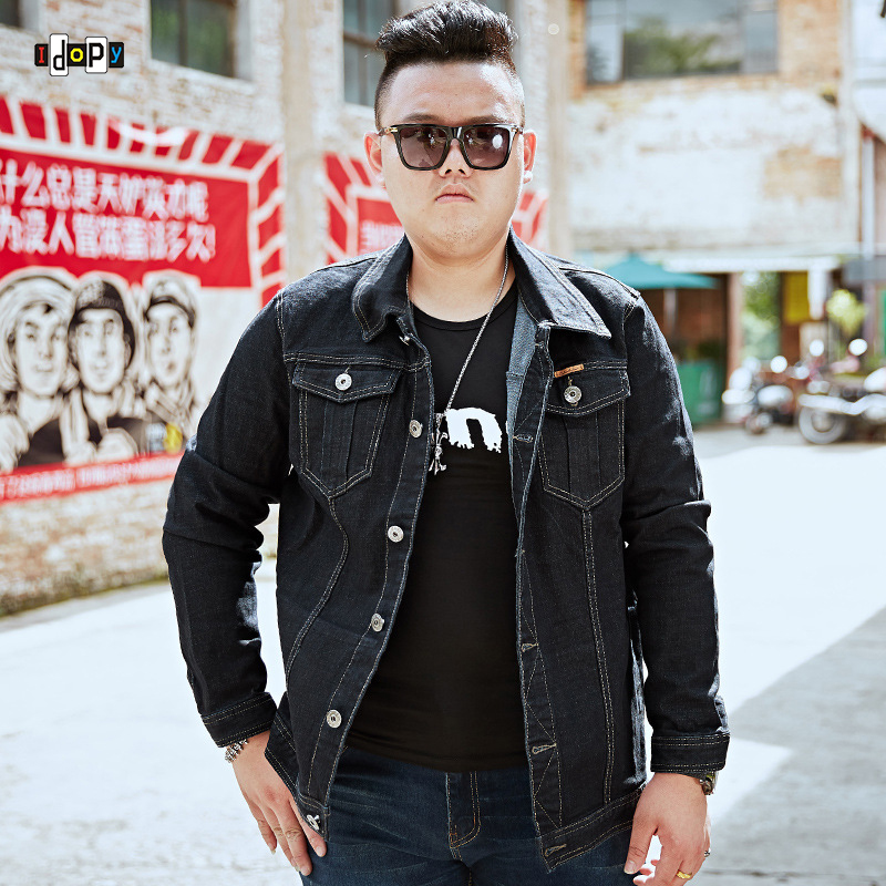 Idopy Classice Mens Plus Size Denim Jacket Male Slim Fit