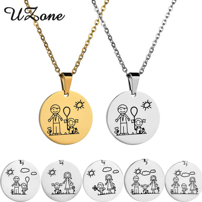 UZone Boy Girl Mama Family Necklaces Stainless Steel Parents Children Charm Necklace Boys Girls Jewelry Gifts