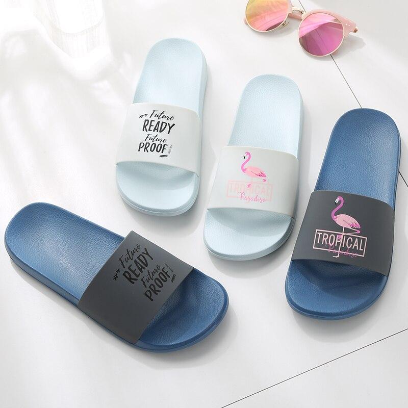 Flamingo Slippers Women Summer Beach Slides Ladies 2018 Large Size 45 Casual Flats Sweet Flip Flops Sandals Lovely Women Shoes