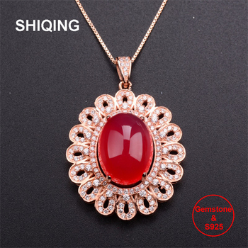 SHIQING 100% Nature red blood chalcedony 925 sterling silver luxury flower Carnelian necklace for lady women