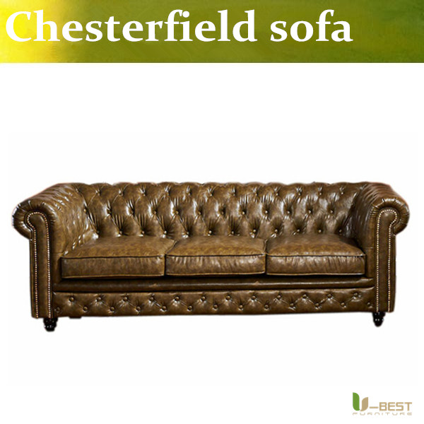 U-BEST Vintage Leather Chesterfield Sofa Settee 3 Seater,moder room hotel apartment sofa, the villa sofa