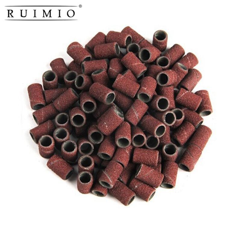 100 pièces montées têtes de meulage cylindriques manches abrasives bandes de ponçage pour perceuse à ongles manucure ponçage anneau outils de meulage