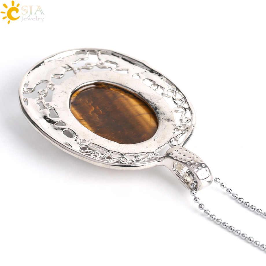 CSJA หินธรรมชาติจี้สร้อยคอ Tiger Eye สีชมพูควอตซ์สีม่วงคริสตัลลูกปัดรูปไข่ Hollow Silver สีจี้ผู้หญิงผู้ชาย G044