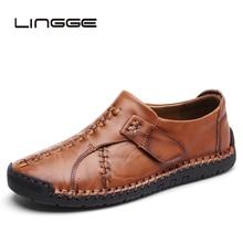 LINGGE Nova Confortáveis Sapatos Flats Homens Mocassins Homens Sapatos Casuais Couro Rachado Qualidade Venda Quente de Couro Macio Mocassins 38- 46