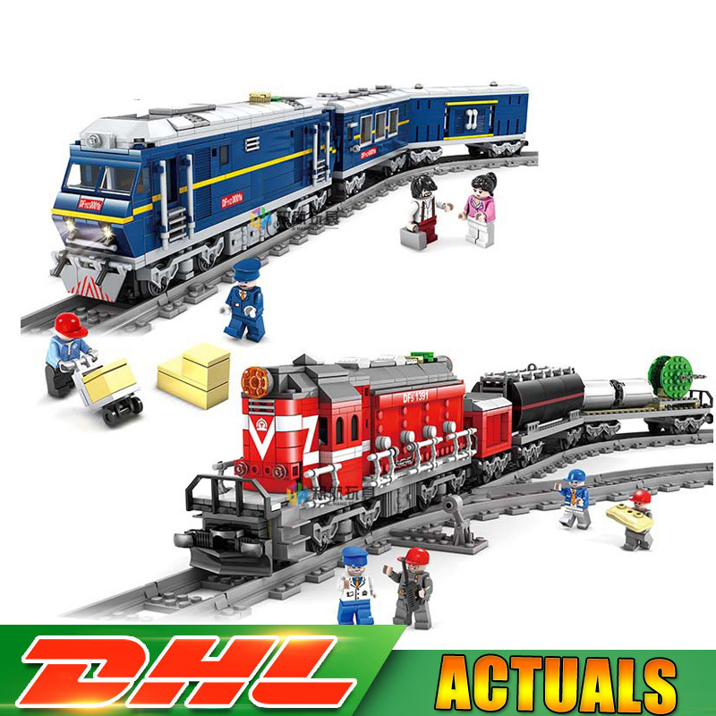 KaZi 98219 98220 City Series Model The Cargo Set Building Train Train Track Blocks Bricks Train Educational Toys Christmas Gifts