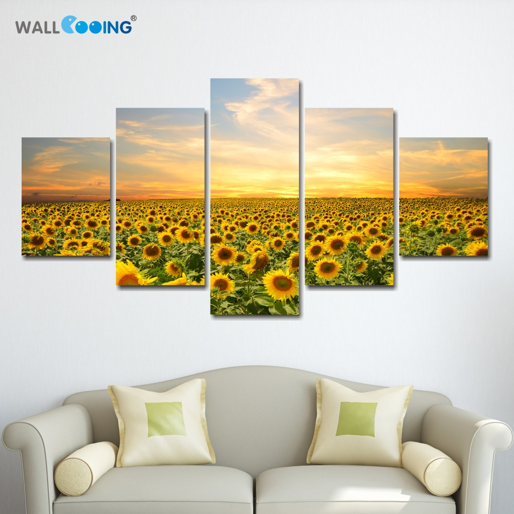Online Shop 5 piece canvas painting poster sunflowers landscape home ...