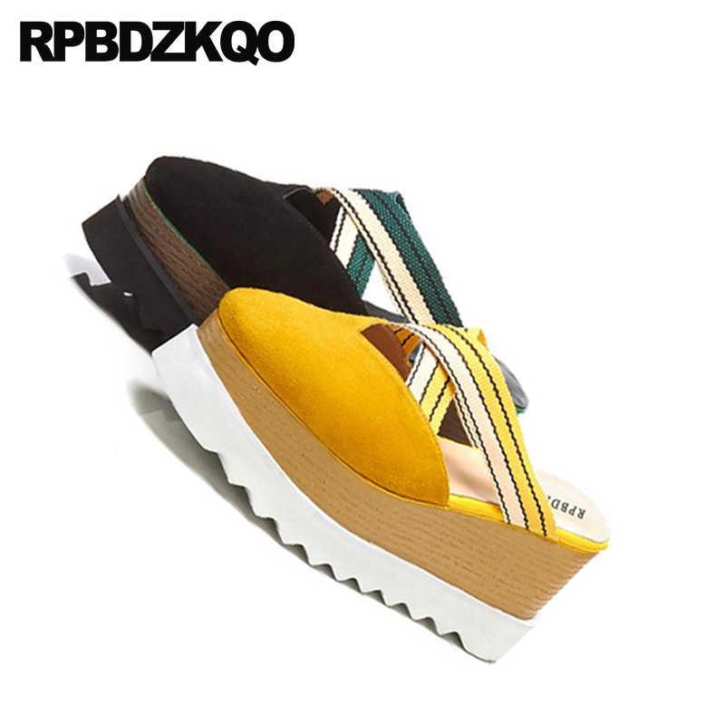 11 รองเท้าแตะขนาดใหญ่ Mules สไลด์รองเท้าส้นสูงปั๊มแพลตฟอร์ม Wedge รองเท้าแตะรองเท้าแตะรองเท้าฤดูร้อนรองเท้าแตะสตรีสีเหลืองปิด Toe Flatform