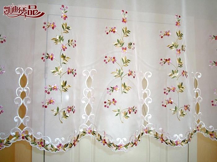 Media cortina bordado cenefa encaje Crochet gasa flor campo estilo ...