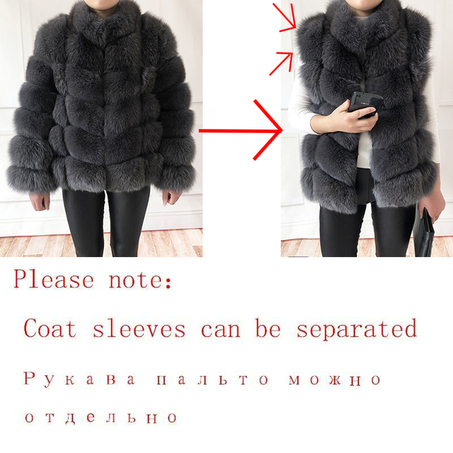 100% true fur coat Women's warm and stylish natural fox fur jacket vest Stand collar long sleeve leather coat Natural fur coats 4
