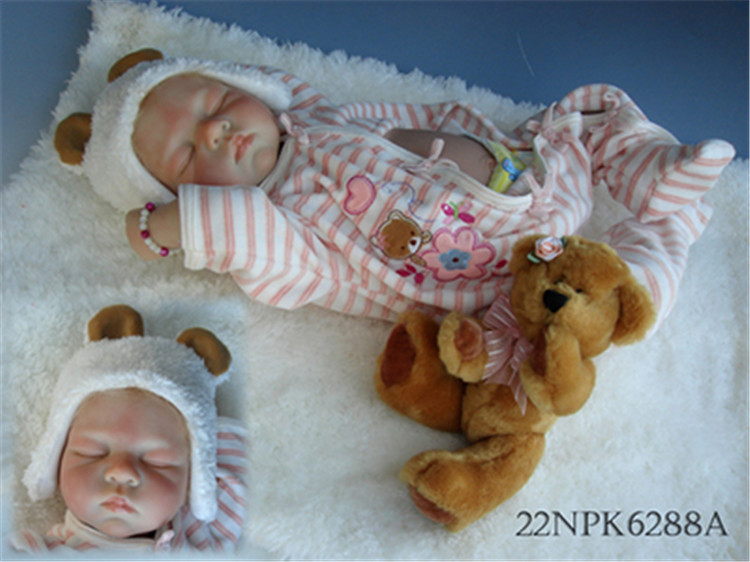 22 Inch 55 cm silicone reborn babies dolls baby real alive bonecas sleeping closed eyes rooted hair by NPK collection22 Inch 55 cm silicone reborn babies dolls baby real alive bonecas sleeping closed eyes rooted hair by NPK collection