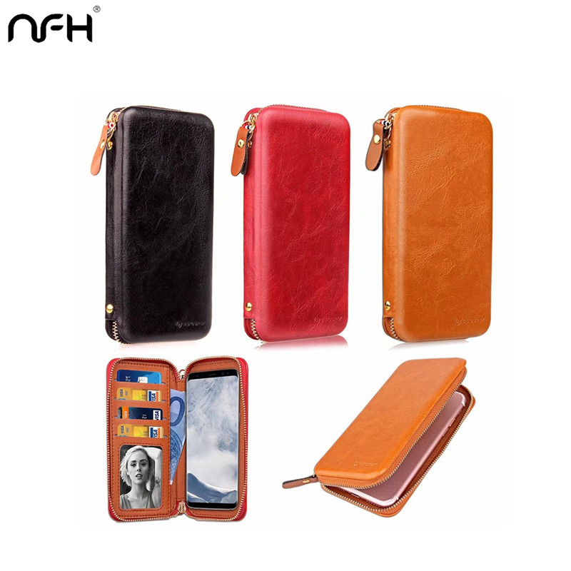 NFH Genuine Leather Women Wallet Case For iPhone X 6 6s 7 8 Plus Luxury phone Bag For Samsung Note 8 S8 Plus Xiaomi Redmi Note